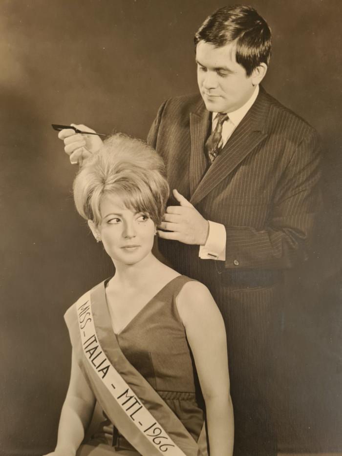 Jean-Pierre Frasez le coiffeur des stars avec Miss Italie en 1966